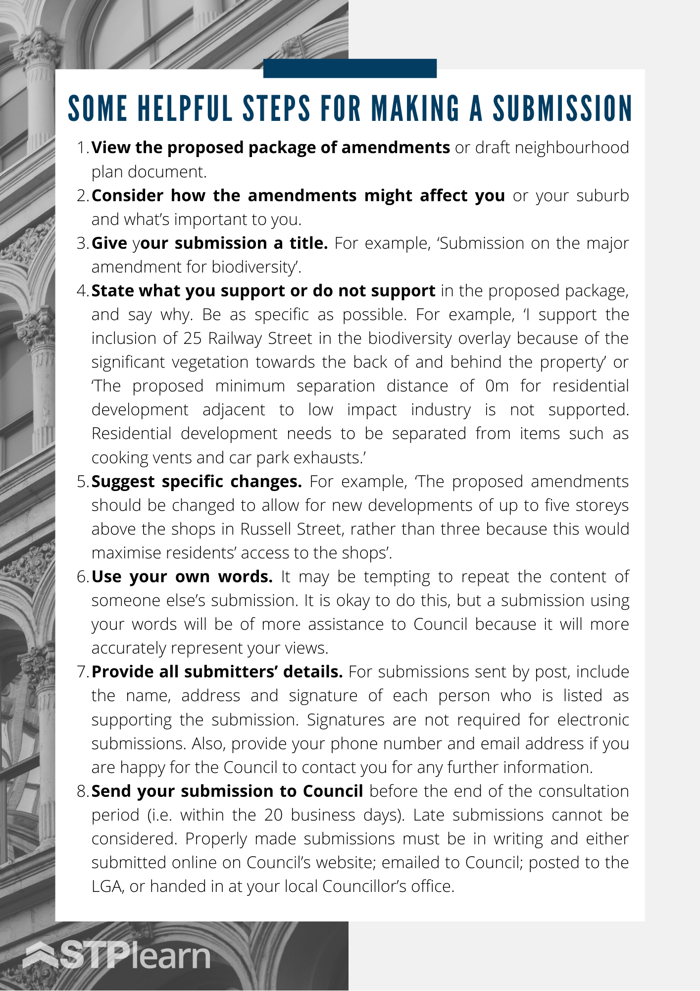 some helpful steps for making a submission pdf instructional steffan town planning